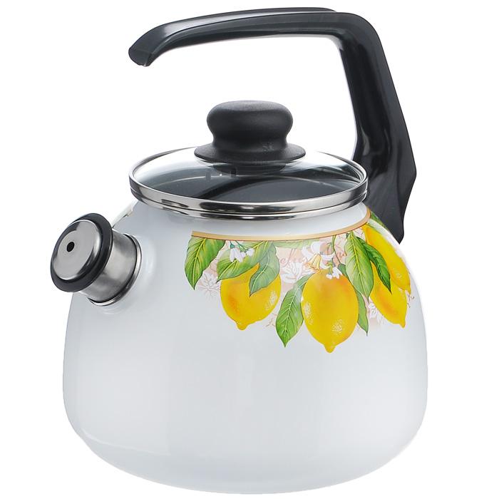 Чайник Limon со свистком, цвет: белый, 3 л1RC12, белый, черный LimonЧайник Limon изготовлен из высококачественного стального проката со стеклокерамическим покрытием. Корпус белого цвета оформлен красочным изображением изображением лимона. Стеклокерамика инертна и устойчива к пищевым кислотам, не вступает во взаимодействие с продуктами и не искажает их вкусовые качества. Прочный стальной корпус обеспечивает эффективную тепловую обработку пищевых продуктов и не деформируется в процессе эксплуатации. Чайник оснащен черной пластиковой удобной ручкой. Крышка чайника выполнена из стекла с пароотводом, что позволяет сохранять тепло. Носик чайника с насадкой-свистком позволит вам контролировать процесс подогрева или кипячения воды. Чайник Limon пригоден для использования на всех видах плит, включая индукционные. Можно мыть в посудомоечной машине. Характеристики: Материал: нержавеющая сталь, пластик, стекло. Цвет: белый. Объем: 3 л. Диаметр основания чайника: 18 см. Высота чайника (с учетом...