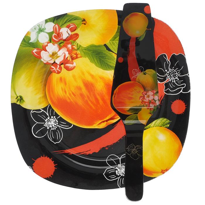 Набор для торта Lillo, 2 предмета. 213386213386Набор для торта Lillo состоит из двух предметов: блюда и лопатки. Предметы набора выполнены из высококачественного стекла и декорированы изображением сочных яблок и цветов. Изящный дизайн и красочность оформления придутся по вкусу и ценителям классики, и тем, кто предпочитает утонченность и изысканность.