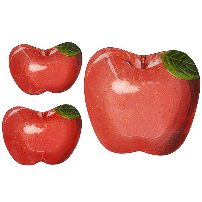 Набор розеток Lillo, 3 шт. 213373213373Набор Lillo состоит из одной большой и двух маленьких розеток, изготовленных из высококачественного стекла. Предметы набора выполнены в виде красных яблок. Красочность оформления придется по вкусу и ценителям классики, и тем, кто предпочитает утонченность и изящность. Такой набор станет незаменимым помощником в сервировке различных блюд, а также джемов, варенья и меда.