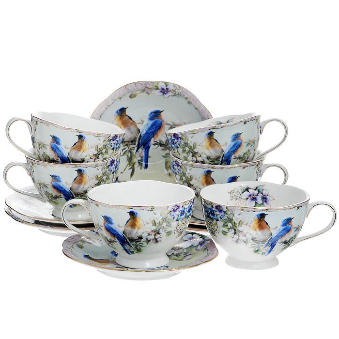 Набор чайный Diademine Клэранс, 12 предметов111119Чайный набор Diademine Клэранс состоит из шести чашек и шести блюдец, выполненных из высококачественного фаянса. Предметы набора оформлены ярким изображением двух птичек, сидящих на ветках с цветами, по краю предметы украшены золотистой окантовкой. Изящный дизайн и красочность оформления придутся по вкусу и ценителям классики, и тем, кто предпочитает утонченность и изысканность. Чайный набор - идеальный и необходимый подарок для вашего дома и для ваших друзей в праздники, юбилеи и торжества! Он также станет отличным украшением любой кухни. Чайный набор Diademine Клэранс упакован в подарочную коробку.