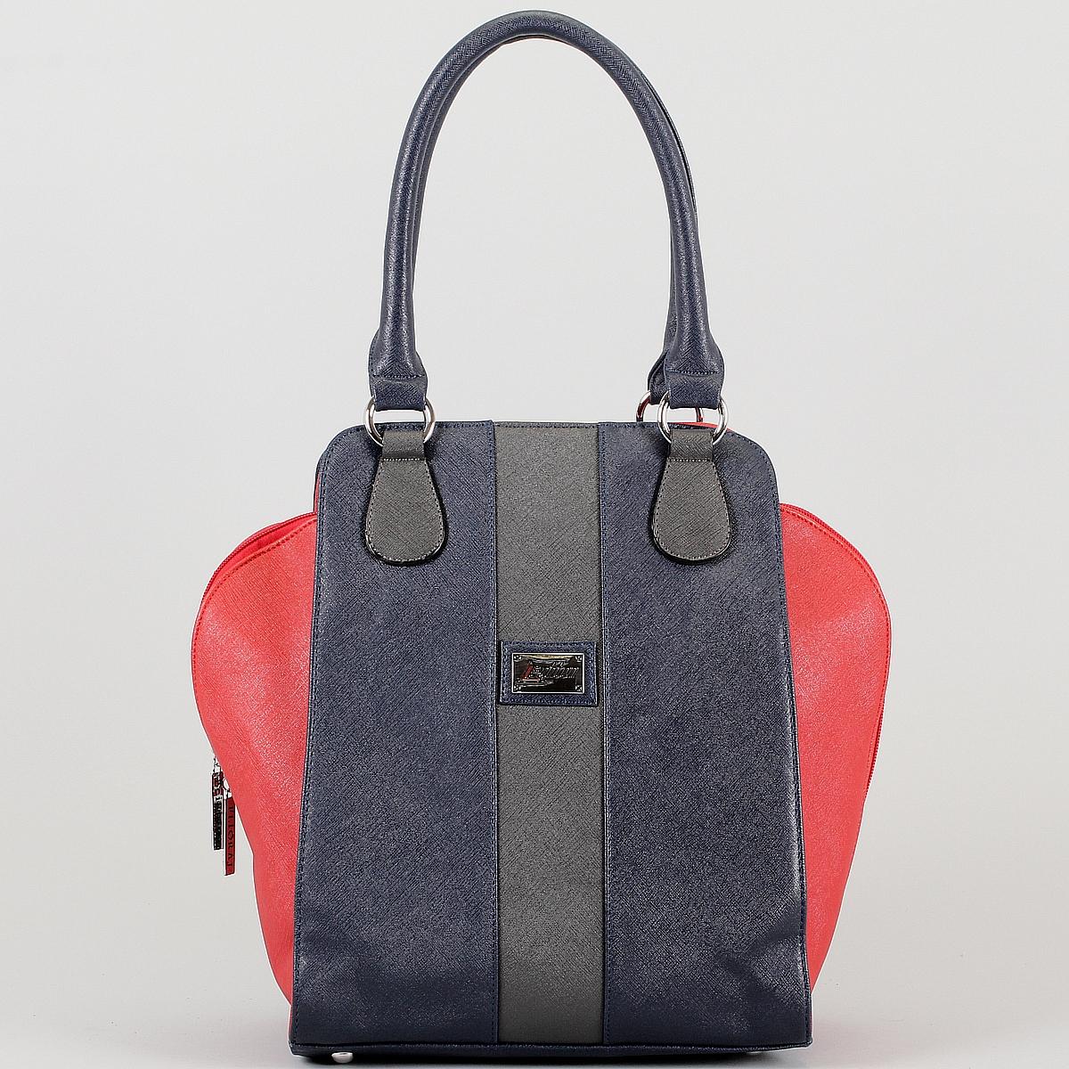 Сумка женская Leighton, цвет: синий, красный, серый. 360020-3769/4/3769/16/376360020-3769/4/3769/16/376Оригинальная женская сумка Leighton выполнена из искусственной кожи и оформлена нашитой эмблемой из металла с логотипом фирмы. Сумка имеет одно отделение, которое закрывается на застежку-молнию. Внутри - нашивной и вшитый карманы на молнии, два нашивных кармашка для мелочей и мобильного телефона. На задней стороне сумки расположен карман на молнии. Сумка оснащена двумя ручками и металлическими ножками на дне сумки. Фурнитура сумки выполнена из металла серебристого цвета. К сумке прилагается чехол для хранения и съемный плечевой ремень. Сумка - это стильный аксессуар, который подчеркнет вашу изысканность и индивидуальность и сделает ваш образ завершенным. Женская сумочка Leighton - это воплощение элегантности и шика. Высококачественные материалы, чистота линий, как выбор стиля, идут об руку с модными тенденциями. Обладательницей данной коллекции может быть только сильная и независимая женщина, бросающая вызов обыденности.