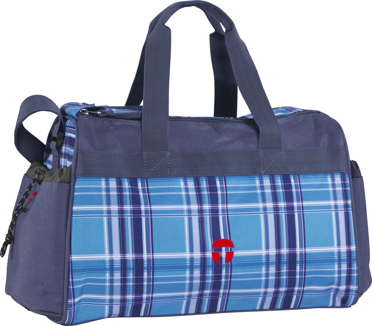 Сумка спортивная McNeil Виола, цвет: голубой, 37 см х 20 см х 25 см28407473188Спортивная сумка McNeil Виола предназначена для переноски спортивных вещей, обуви и инвентаря. Сумка ручной работы выполнена из современных резистентных материалов и оформлена принтом в голубую клетку. Сумка имеет одно вместительное отделение, закрывающееся на две застежки-молнии. Бегунки на застежках соединены общим текстильным держателем. На тыльной стороне сумки расположен внешний карман для обуви, закрывающийся на застежку молнию. По бокам находятся два внешних кармана, затягивающиеся сверху текстильным шнурком с фиксатором. Спортивная сумка оснащена двумя текстильными ручками для переноски в руке и плечевым ремнем, регулируемым по длине. На дне сумки расположены четыре широкие пластиковые ножки, которые защитят ее от грязи и продлят срок службы. Спортивные сумки McNeill - это высочайшее качество, функциональность и современный дизайн. Характеристики: Материал: текстиль, пластик, металл. Размер сумки: 37 см х 20 см x 25 см. Объем сумки: 18 л.