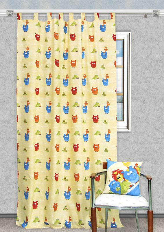 Штора Kauffort Кидс, на петлях, цвет: желтый, высота 290 смUN111060615Яркая детская штора Kauffort Кидс, выполненная из плотной ткани желтого цвета, станет великолепным украшением окна в детской. Штора оформлена красочными изображениями забавных животных. Оригинальная текстура ткани и яркий цветовой дизайн привлекут внимание ребенка и органично впишутся в интерьер помещения детской. Штора оснащена петлями для крепления на круглый карниз и шторной лентой для красивой сборки. В комплекте - термоклеевая лента, которую также можно использовать для сборки.