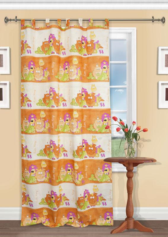 Штора Kauffort Кидс, на петлях, цвет: оранжевый, высота 290 смUN111060630Яркая детская штора Kauffort Кидс, выполненная из плотной ткани оранжевого цвета, станет великолепным украшением окна в детской. Штора оформлена красочными изображениями животных Африки. Оригинальная текстура ткани и яркий цветовой дизайн привлекут внимание ребенка и органично впишутся в интерьер помещения детской. Штора оснащена петлями для крепления на круглый карниз и шторной лентой для красивой сборки. В комплекте - термоклеевая лента, которую также можно использовать для сборки.