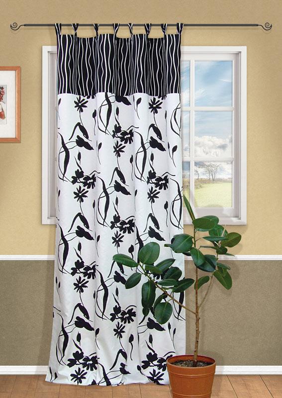 Штора Kauffort Калавера, на петлях, цвет: черный, белый, высота 280 смUN111081610Штора Kauffort Калавера, выполненная из плотного текстиля, станет великолепным украшением любого окна. Штора выполнена в черно-белой цветовой гамме и украшена оригинальным рисунком. Штора оснащена петлями для крепления на круглый карниз и шторной лентой для красивой сборки.