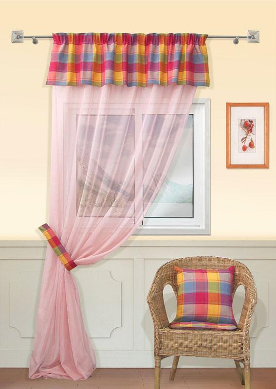 Штора Kauffort Касабланка, на ленте, цвет: светло-розовый, высота 303 смUN111106693Штора Kauffort Касабланка выполнена из качественного материала, состоящего из полиэстера, акрила и хлопка. Основное полотно выполнено из полупрозрачной вуали светло-розового цвета. Верх шторы декорирован ламбрекеном из плотной ткани клетчатой расцветки. Для более изящного расположения шторы на окне прилагается подхват из клетчатой ткани. Качественный материал, оригинальный дизайн и приятная цветовая гамма привлекут к себе внимание и органично впишутся в интерьер помещения. Изделие оснащено шторной лентой для красивой сборки. Штора Kauffort Касабланка великолепно украсит любое окно.