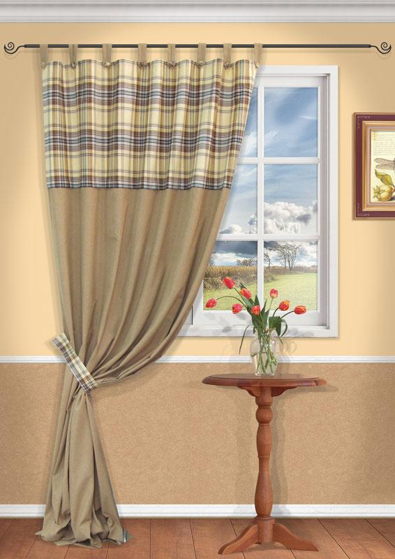 Штора Kauffort Корфу, на петлях, цвет: бежевый, высота 290 смUN111111615Штора Kauffort Корфу, выполненная из плотного текстиля, станет великолепным украшением любого окна. Штора выполнена из сочетания клетчатой и бежевой однотонной ткани. Для более изящного расположения шторы на окне прилагается подхват. Штора оснащена петлями для крепления на круглый карниз и шторной лентой для красивой сборки.