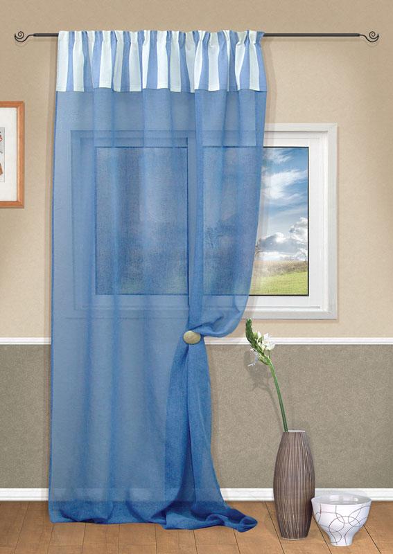 Штора Kauffort Ширли, на ленте, цвет: голубой, высота 280 смUN111134140Штора Kauffort Ширли выполнена из полиэстера. Основная часть шторы изготовлена из полотна голубого цвета с полупрозрачным сетчатым плетением. Верхняя часть выполнена из плотного непрозрачного полиэстера с рисунком в бело-голубую полоску. Качественный материал, оригинальный дизайн и приятная цветовая гамма привлекут к себе внимание и органично впишутся в интерьер помещения. Изделие оснащено шторной лентой для красивой сборки. Штора Kauffort Ширли великолепно украсит любое окно.
