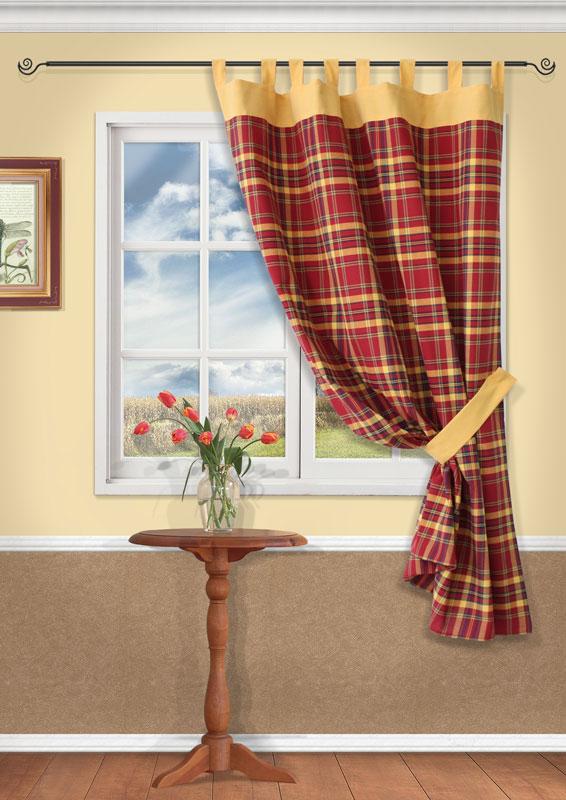 Штора Kauffort Вилла, на петлях, цвет: бордо, высота 191 смUN111213620Штора Kauffort Вилла выполнена из качественного материала, изготовленного из хлопка, полиэстера и акрила. Полотно выполнено из клетчатой ткани бордового цвета и украшено широким желтым кантом по верху. Для более изящного расположения шторы на окне прилагается подхват из ткани желтого цвета. Качественный материал, оригинальный дизайн и приятная цветовая гамма привлекут к себе внимание и органично впишутся в интерьер помещения. Штора оснащена петлями для крепления на круглый карниз. Штора Kauffort Вилла станет великолепным украшением любого окна.