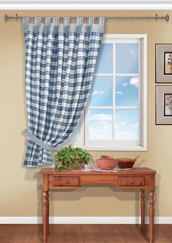 Штора Kauffort Вилла, на петлях, цвет: синий, высота 191 смUN111213640Штора Kauffort Вилла выполнена из качественного материала, изготовленного из хлопка, полиэстера и акрила. Полотно выполнено из клетчатой ткани синего цвета и украшено широким кантом по верху. Для более изящного расположения шторы на окне прилагается подхват. Качественный материал, оригинальный дизайн и приятная цветовая гамма привлекут к себе внимание и органично впишутся в интерьер помещения. Штора оснащена петлями для крепления на круглый карниз. Штора Kauffort Вилла станет великолепным украшением любого окна.