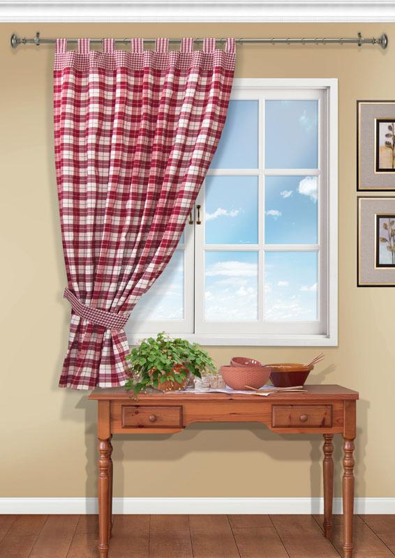 Штора Kauffort Вилла, на петлях, цвет: красный, высота 191 смUN111213670Штора Kauffort Вилла выполнена из качественного материала, изготовленного из хлопка, полиэстера и акрила. Полотно выполнено из клетчатой ткани красного цвета и украшено широким кантом по верху. Для более изящного расположения шторы на окне прилагается подхват. Качественный материал, оригинальный дизайн и приятная цветовая гамма привлекут к себе внимание и органично впишутся в интерьер помещения. Штора оснащена петлями для крепления на круглый карниз. Штора Kauffort Вилла станет великолепным украшением любого окна.
