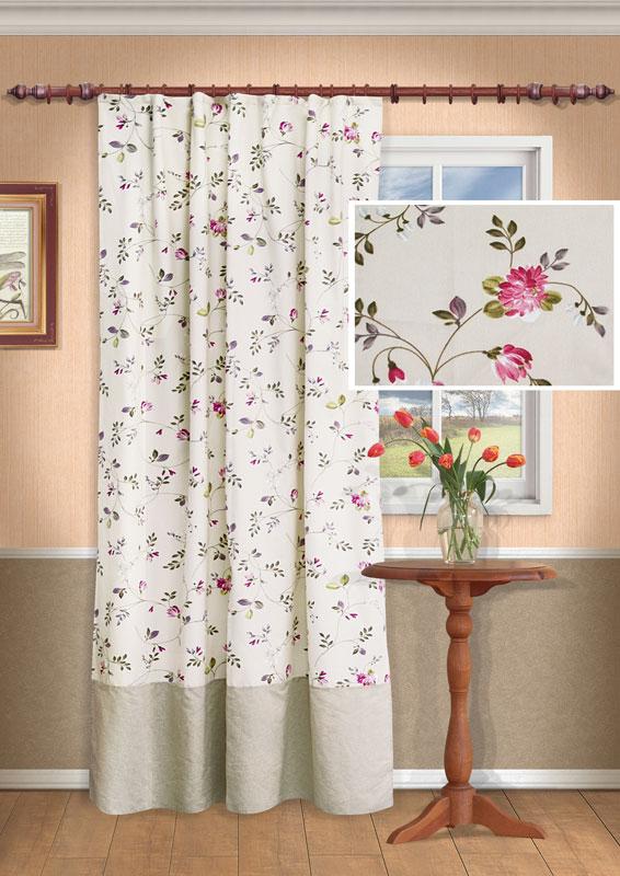 Штора Kauffort Мария, на ленте, цвет: розовый, высота 275 смUN111305170Роскошная штора Kauffort Мария выполнена из качественного материала, состоящего из хлопа и полиэстера. Верх шторы выполнен из полотна светло-бежевого цвета с рисунком в виде розовых цветов, низ шторы - из однотонного полотна бежевого цвета. Для более изящного расположения шторы на окне прилагается подхват. Качественный материал, оригинальный дизайн и приятная цветовая гамма привлекут к себе внимание и органично впишутся в интерьер помещения. Изделие оснащено шторной лентой для красивой сборки. Штора Kauffort Мария великолепно украсит любое окно. Характеристики: Материал: 46% полиэстер, 54% хлопок. Цвет: розовый. Размер упаковки: 37 см х 27 см х 4 см. Артикул: UN111305170. В комплект входит: Штора - 1 шт. Размер (Ш х В): 138 см х 275 см (отклонение размера ~ 1,5%). Подхват - 1 шт. Размер (Ш х Д): 8 см х 66 см.