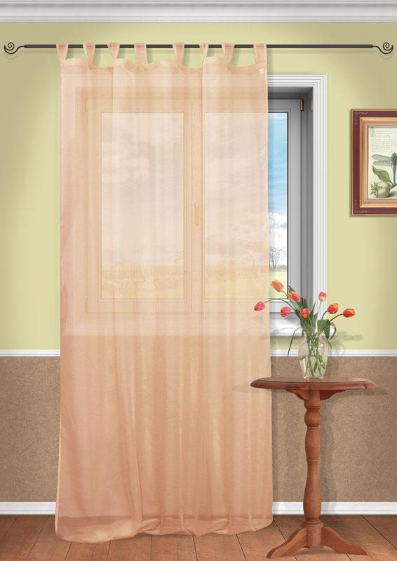 Штора Kauffort Анастасия, на петлях, цвет: терракотовый, высота 290 смUN111400156Воздушная штора Kauffort Анастасия, выполненная из полупрозрачной вуали терракотового цвета, станет великолепным украшением любого окна. Тонкое плетение и нежная цветовая гамма привлекут к себе внимание и органично впишутся в интерьер помещения. Штора оснащена петлями для крепления на круглый карниз и шторной лентой для красивой сборки.