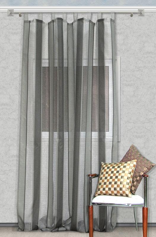 Штора Kauffort Грин, на петлях, цвет: серый, высота 314 смUN111415160Воздушная штора Kauffort Грин, выполненная из полупрозрачного полиэстера серого цвета, станет великолепным украшением любого окна. Штора декорирована отделкой из серебристого люрекса. Оригинальный рисунок и приятная цветовая гамма привлекут к себе внимание и органично впишутся в интерьер помещения. Штора оснащена петлями для крепления на круглый карниз и шторной лентой для красивой сборки.