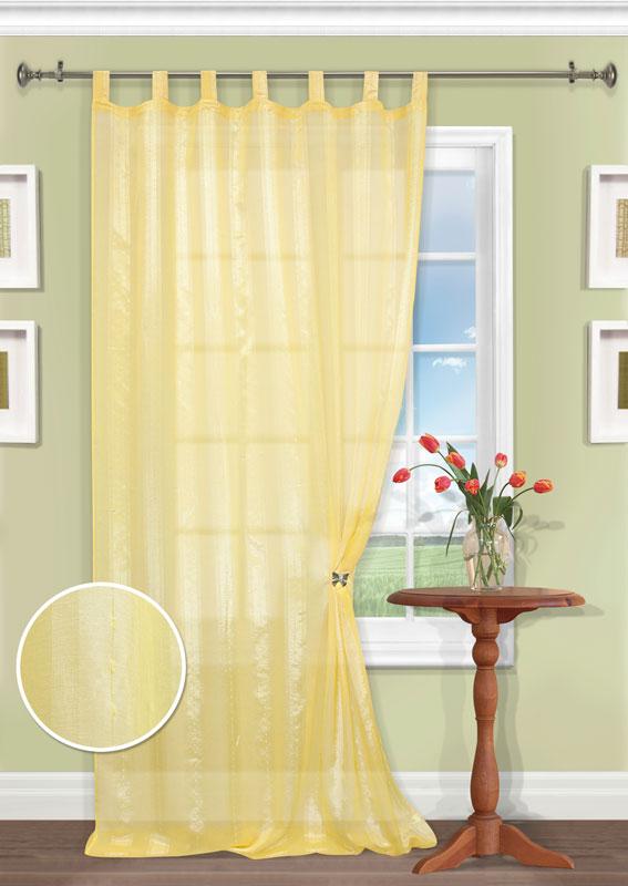 Штора Kauffort Меркурий, на петлях, цвет: золотистый, высота 300 смUN111596520Роскошная штора Kauffort Меркурий выполнена из качественного полиэстера. Полупрозрачное полотно насыщенного золотистого цвета декорировано блестящими широкими полосами. Качественный материал, оригинальный дизайн и приятная цветовая гамма привлекут к себе внимание и органично впишутся в интерьер помещения. Штора оснащена петлями для крепления на круглый карниз. Штора Kauffort Меркурий великолепно украсит любое окно.