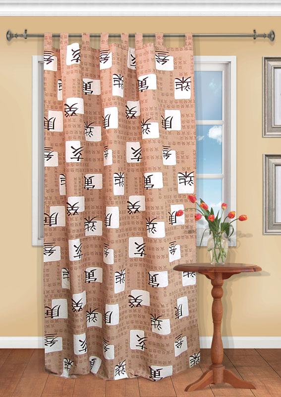 Штора Kauffort Киото, на петлях, цвет: коричневый, высота 287 смUN111885630Штора Kauffort Киото выполнена из качественного материала, изготовленного из хлопка и полиэстера. Полотно коричневого цвета декорировано рисунком в виде иероглифов. Качественный материал, оригинальный дизайн и приятная цветовая гамма привлекут к себе внимание и органично впишутся в интерьер помещения. Штора оснащена петлями для крепления на круглый карниз и шторной лентой для красивой сборки. Штора Kauffort Киото станет великолепным украшением любого окна.