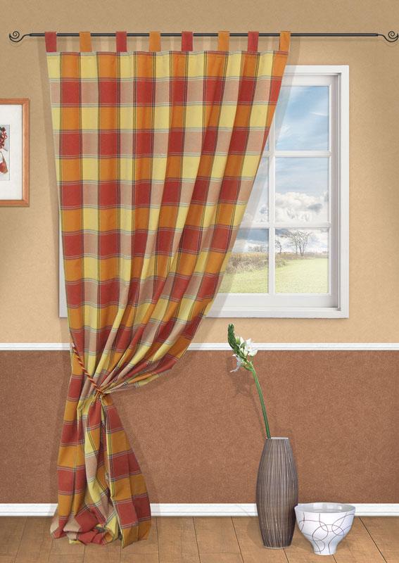 Штора Kauffort Лидс, на петлях, цвет: оранжевый, высота 298 смUN111970670Штора Kauffort Лидс выполнена из качественного материала, состоящего из хлопка, полиэстера и акрила. Полотно оранжевого цвета оформлено рисунком в клетку. Качественный материал, оригинальный дизайн и приятная цветовая гамма привлекут к себе внимание и органично впишутся в интерьер помещения. Штора оснащена петлями для крепления на круглый карниз и шторной лентой для красивой сборки. Штора Kauffort Лидс станет великолепным украшением любого окна.