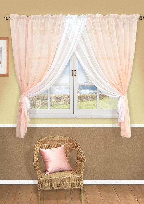 Комплект штор Kauffort Фируз, на ленте, цвет: светло-розовый, высота 160 смUN123001171Комплект штор Kauffort Фируз выполнен из высококачественного полиэстера. Комплект состоит из шторы и двух подхватов. Штора представляет собой два сшитых между собой полотна, выполненных из полупрозрачной тюлевой ткани. Штора оснащена шторной лентой для красивой сборки. Качественный материал, оригинальный дизайн и приятная цветовая гамма привлекут к себе внимание и органично впишутся в интерьер помещения. Комплект штор Kauffort Фируз станет великолепным украшением любого окна.