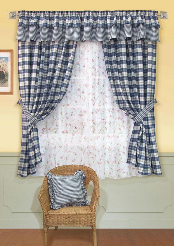 Комплект штор Kauffort Чарльз, на ленте, цвет: синий, высота 186 смUN123009140Комплект штор Kauffort Чарльз выполнен из качественной ткани, состоящей из полиэстера, акрила и хлопка. Комплект состоит из двух штор, тюля, ламбрекена и двух подхватов. Шторы, ламбрекен и подхваты выполнены из плотной ткани с рисунком в синюю клетку. Тюль выполнен из полупрозрачной вуали белого цвета с ярким цветочным рисунком. Шторы, тюль и ламбрекен оснащены шторной лентой для красивой сборки. Качественный материал, оригинальный дизайн и приятная цветовая гамма привлекут к себе внимание и органично впишутся в интерьер помещения. Комплект штор Kauffort Чарльз станет великолепным украшением любого окна.