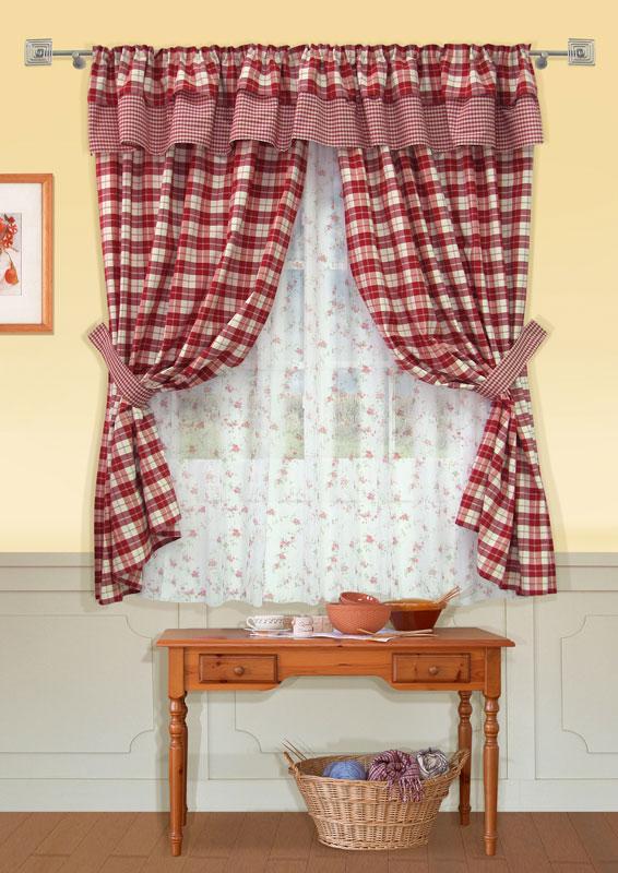 Комплект штор Kauffort Чарльз, на ленте, цвет: бордо, высота 186 смUN123009175Комплект штор Kauffort Чарльз выполнен из качественной ткани, состоящей из полиэстера, акрила и хлопка. Комплект состоит из двух штор, тюля, ламбрекена и двух подхватов. Шторы, ламбрекен и подхваты выполнены из плотной ткани с рисунком в бордовую клетку. Тюль выполнен из полупрозрачной вуали белого цвета с ярким цветочным рисунком. Шторы, тюль и ламбрекен оснащены шторной лентой для красивой сборки. Качественный материал, оригинальный дизайн и приятная цветовая гамма привлекут к себе внимание и органично впишутся в интерьер помещения. Комплект штор Kauffort Чарльз станет великолепным украшением любого окна.