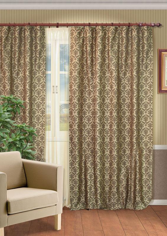 Комплект штор Kauffort Эльба, на ленте, цвет: коричневый, зеленый, высота 275 смUN123086155Роскошный комплект штор Kauffort Эльба, выполненный из полиэстера, великолепно украсит любое окно. Комплект состоит из двух портьер и тюля. Портьеры выполнены из плотного полиэстера зеленого цвета с изысканным вензельным рисунком коричневого цвета. Тюль выполнен из нежной вуали светло-золотистого цвета. Предметы комплекта оснащены шторной лентой для красивой сборки. Качественный материал, оригинальный дизайн и контрастная цветовая гамма привлекут к себе внимание и органично впишутся в интерьер помещения.