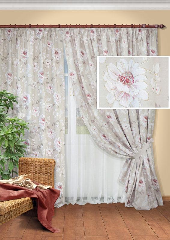 Комплект штор Kauffort Сара, на ленте, цвет: серый, розовый, белый, высота 280 смUN123304620Роскошный комплект Kauffort Сара состоит из двух портьер и одного тюля. Портьеры и тюль изготовлены из плотного материала, выполненного из хлопка и полиэстера. Портьеры украшены изящным цветочным рисунком, тюль однотонная - белого цвета. Портьеры и тюль оснащены шторной лентой для красивой сборки.