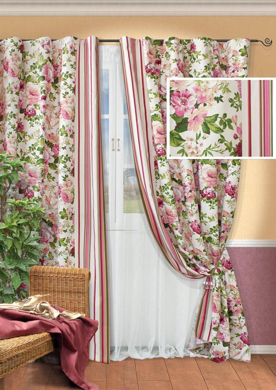 Комплект штор Kauffort Идилия, на ленте, цвет: розовый, бежевый, высота 270 см. UN123321670UN123321670Роскошный комплект штор Kauffort Идилия состоит из двух портьер, тюля и двух подхватов. Портьеры изготовлены из плотной ткани белого цвета с ярким цветочным принтом, по бокам оформлены разноцветными вертикальными полосками. Тюль выполнен из легкой вуалевой ткани белого цвета. Для придания шторам изящного внешнего вида предусмотрены подхваты, оформленные рисунком в полоску. Оригинальная текстура ткани и яркая цветовая гамма привлекут к себе внимание и органично впишутся в интерьер помещения. Особенно удачно такой комплект будет смотреться в интерьере загородного дома или дачи. Шторы оснащены шторной лентой для красивой сборки. В комплекте - термоклеевая лента, которую также можно использовать для сборки.