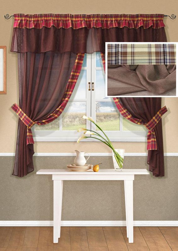 Комплект штор Kauffort Лайт, на ленте, цвет: бежевый, высота 170 смUN123500115Комплект Kauffort Лайт состоит из двух штор, двух подхватов и ламбрекена. Предметы комплекта выполнены из качественного материала, изготовленного из хлопка, полиэстера и акрила. Шторы и ламбрекен, выполненные из сетчатого полотна бежевого цвета, декорированы плотными текстильными вставками с клетчатым рисунком. Качественный материал, оригинальный дизайн и контрастная цветовая гамма привлекут к себе внимание и органично впишутся в интерьер помещения. Шторы и ламбрекен оснащены лентой для красивой сборки. Характеристики: Материал: 38% полиэстер, 32% хлопок, 30% акрил. Цвет: бежевый. Размер упаковки: 36 см х 28 см х 4 см. Артикул: UN123500115. В комплект входит: Штора - 2 шт. Размер (Ш х В): 163 см х 170 см (отклонение размера ~1,5%). Ламбрекен - 1 шт. Размер (Ш х В): 280 см х 40 см (отклонение размера ~1,5%). Подхват - 2 шт. Размер (Ш х Д): 6 см х 72 см (отклонение размера ~1,5%).
