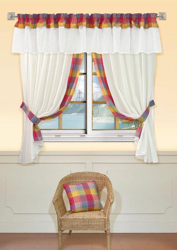 Комплект штор Kauffort Лайт, на ленте, цвет: шампань, высота 170 смUN123500120Комплект Kauffort Лайт состоит из двух штор, двух подхватов и ламбрекена. Предметы комплекта выполнены из качественного материала, изготовленного из хлопка, полиэстера и акрила. Шторы и ламбрекен, выполненные из сетчатого полотна цвета шампанского, декорированы плотными текстильными вставками с клетчатым рисунком. Качественный материал, оригинальный дизайн и контрастная цветовая гамма привлекут к себе внимание и органично впишутся в интерьер помещения. Шторы и ламбрекен оснащены лентой для красивой сборки.