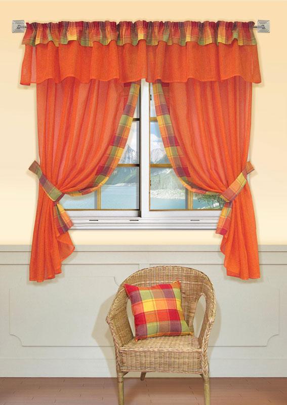 Комплект штор Kauffort Лайт, на ленте, цвет: оранжевый, высота 170 смUN123500130Комплект Kauffort Лайт состоит из двух штор, двух подхватов и ламбрекена. Предметы комплекта выполнены из качественного материала, изготовленного из хлопка, полиэстера и акрила. Шторы и ламбрекен, выполненные из сетчатого полотна оранжевого цвета, декорированы плотными текстильными вставками с клетчатым рисунком. Качественный материал, оригинальный дизайн и контрастная цветовая гамма привлекут к себе внимание и органично впишутся в интерьер помещения. Шторы и ламбрекен оснащены лентой для красивой сборки.