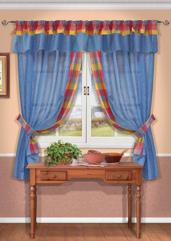 Комплект штор Kauffort Лайт, на ленте, цвет: голубой, высота 170 смUN123500140Комплект Kauffort Лайт состоит из двух штор, двух подхватов и ламбрекена. Предметы комплекта выполнены из качественного материала, изготовленного из хлопка, полиэстера и акрила. Шторы и ламбрекен, выполненные из сетчатого полупрозрачного полотна голубого цвета, декорированы плотными текстильными вставками с разноцветным клетчатым рисунком. Подхваты также выполнены из полиэстера в клетку. Качественный материал, оригинальный дизайн и контрастная цветовая гамма привлекут к себе внимание и органично впишутся в интерьер помещения. Шторы и ламбрекен оснащены лентой для красивой сборки. Комплект штор Kauffort Лайт великолепно украсит любое окно.