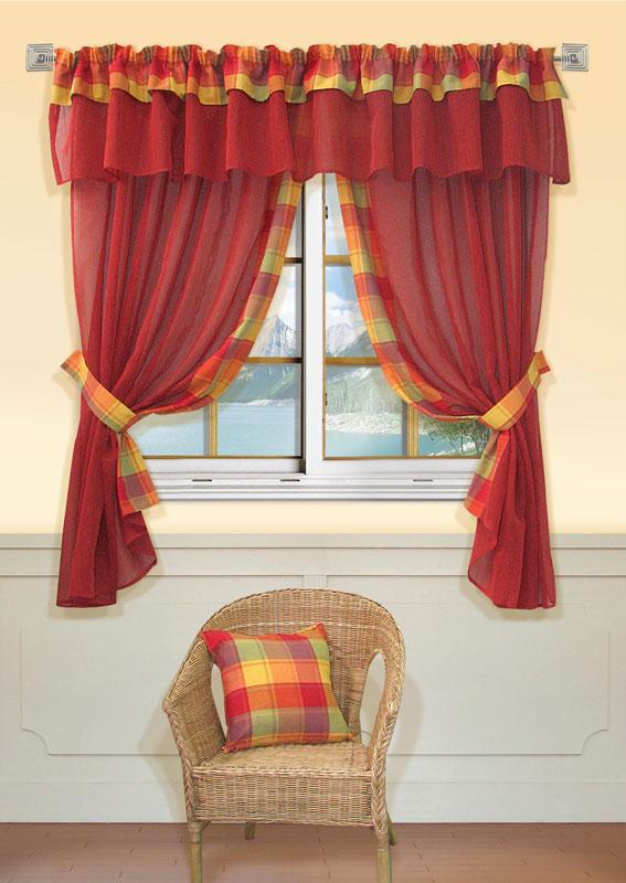 Комплект штор Kauffort Лайт, на ленте, цвет: красный, высота 170 смUN123500175Комплект Kauffort Лайт состоит из двух штор, двух подхватов и ламбрекена. Предметы комплекта выполнены из качественного материала, изготовленного из хлопка, полиэстера и акрила. Шторы и ламбрекен, выполненные из сетчатого полотна красного цвета, декорированы плотными текстильными вставками с клетчатым рисунком. Качественный материал, оригинальный дизайн и контрастная цветовая гамма привлекут к себе внимание и органично впишутся в интерьер помещения. Шторы и ламбрекен оснащены лентой для красивой сборки.
