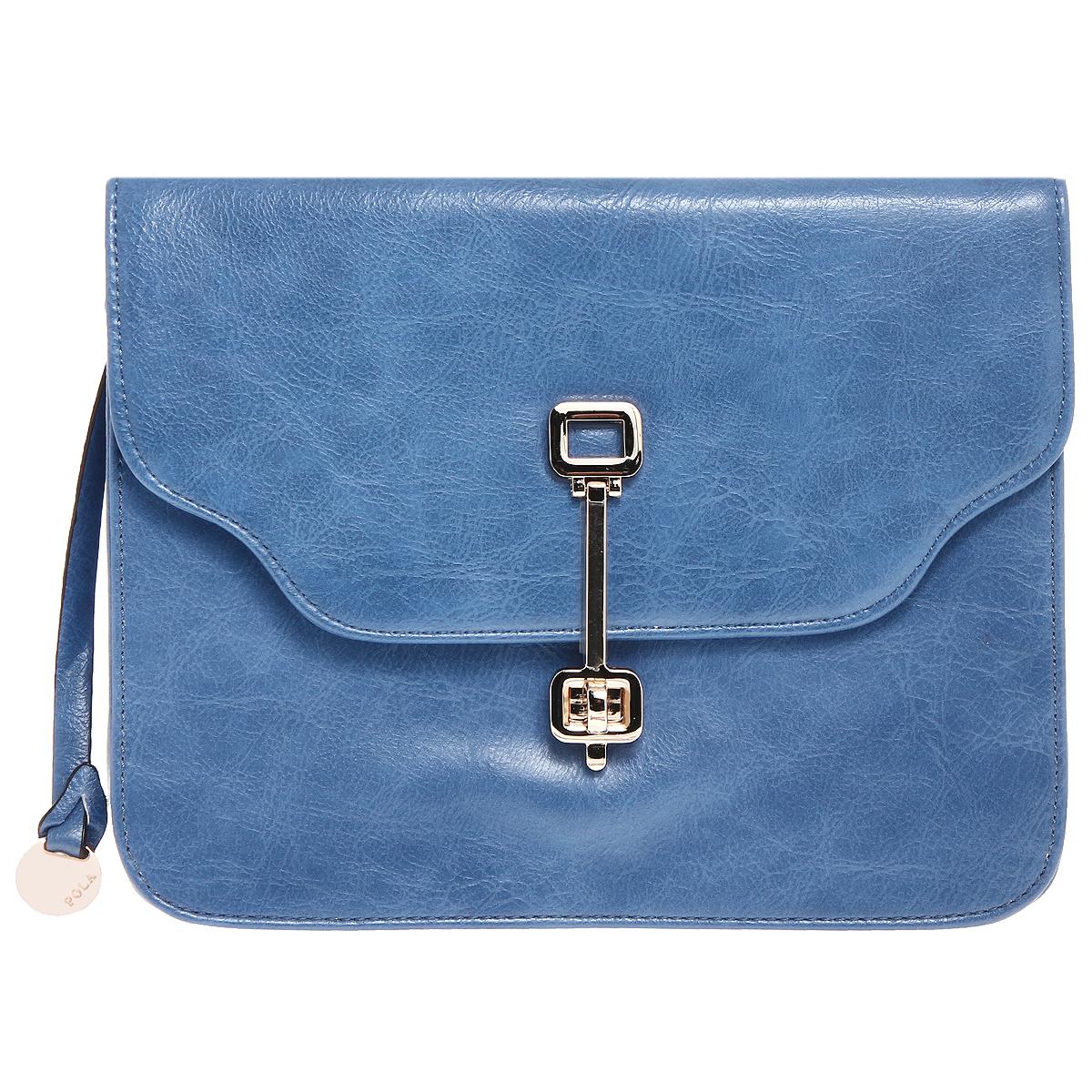 Сумка женская Pola, цвет: синий. 70457045 blueЖенская сумка Pola выполнена из искусственной кожи синего цвета. Сумка состоит из одного отделения, закрывающегося широким клапаном на поворотный замок. Сбоку к сумке прикреплен круглый металлический брелок. Внутри - два открытых накладных кармашка для мелочей и вшитый карман на застежке-молнии. Сумка оснащена съемным, плечевым ремнем регулируемой длины. В комплекте чехол для хранения. Сумка - это стильный аксессуар, который подчеркнет вашу изысканность и индивидуальность и сделает ваш образ завершенным.