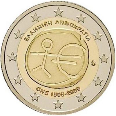Монета номиналом 2 евро 10 лет экономическому и валютному союзу. Греция, 2009 годL2070 EМонета номиналом 2 евро 10 лет экономическому и валютному союзу. Греция, 2009 год. Диаметр 2,5 см. Сохранность UNC (без обращения).