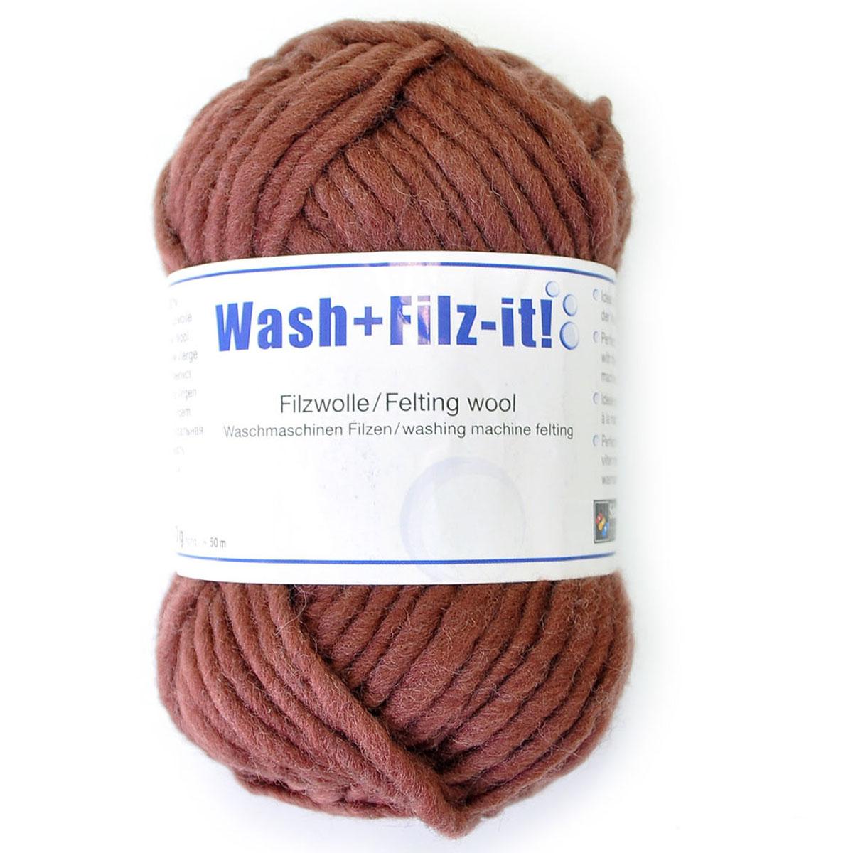 Пряжа для сваливания в стиральной машине Wash+Filz-it, цвет: chocolate (шоколадный) (00003), 50 м, 50 г9812942-00003Специальная пряжа Wash+Filz-it, выполненная из натуральной шерсти, предназначена для вязания на спицах и дальнейшего сваливания в стиральной машине. Придайте вашим идеям форму! С этой пряжей очень легко работать - свяжите и выстирайте в стиральной машине при температуре 60°С. Внимание! Ваше связанное изделие после стирки уменьшится на 30%. Валяние шерсти - это особая техника рукоделия, в процессе которой из шерсти для валяния создается рисунок на ткани или войлоке, объемные игрушки, панно, декоративные элементы, предметы одежды или аксессуары. Только натуральная шерсть обладает способностью сваливаться или свойлачиваться.