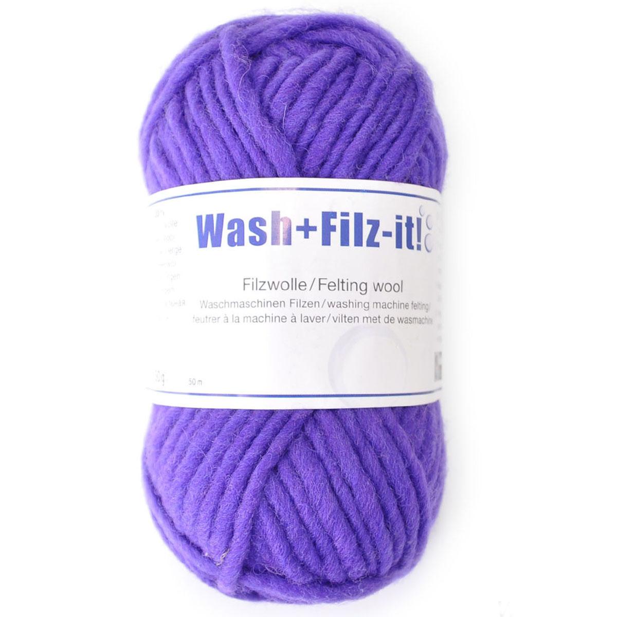 Пряжа для сваливания в стиральной машине Wash+Filz-it, цвет: violet (фиолетовый) (00018), 50 м, 50 г9812942-00018Специальная пряжа Wash+Filz-it, выполненная из натуральной шерсти, предназначена для вязания на спицах и дальнейшего сваливания в стиральной машине. Придайте вашим идеям форму! С этой пряжей очень легко работать - свяжите и выстирайте в стиральной машине при температуре 60°С. Внимание! Ваше связанное изделие после стирки уменьшится на 30%. Валяние шерсти - это особая техника рукоделия, в процессе которой из шерсти для валяния создается рисунок на ткани или войлоке, объемные игрушки, панно, декоративные элементы, предметы одежды или аксессуары. Только натуральная шерсть обладает способностью сваливаться или свойлачиваться.