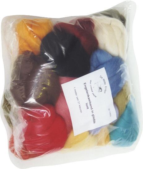Набор шерсти De Witte Engel для мокрого и сухого валяния, 15 мотковW13000Набор De Witte Engel включает 15 шерстяных мотков различных цветов. Самые часто используемые цвета при валянии собраны в этом наборе. Шерсть самого высокого качества, с которой вам будет приятно и легко работать. Если вы много и часто валяете, купите набор и не беспокойтесь о дополнительных покупках шерсти. Валяние шерсти - это особая техника рукоделия, в процессе которой из шерсти для валяния создается рисунок на ткани или войлоке, объемные игрушки, панно, декоративные элементы, предметы одежды или аксессуары. Только натуральная шерсть обладает способностью сваливаться или свойлачиваться.