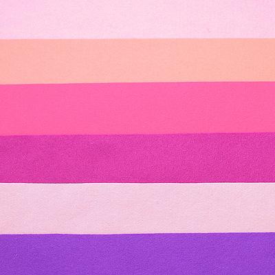 Набор лоскутов из войлока Richard Wernekinck Wolgroothander, 20 см х 30 см, 6 шт. 560221-Н04560221-Н04Набор Richard Wernekinck Wolgroothander состоит из 6 войлочных лоскутов разных цветов. В набор входят следующие цвета: сиренево-розовый, розовый (неон), фуксия (розовый), темная фуксия, розово-сиреневый, фиолетовый. Войлок (фетр) произведен в Голландии на фабрике Richarda Wernekincka, где очень строгий контроль за качеством выпускаемой продукции. А многолетний опыт работы позволил добиться в производстве войлока (фетра) самого высокого класса. Данный войлок (фетр) очень мягкий и приятный на ощупь, стойкие, яркие цвета. Работа с ним доставит вам только положительные эмоции, а результат будет радовать вас долгие годы.