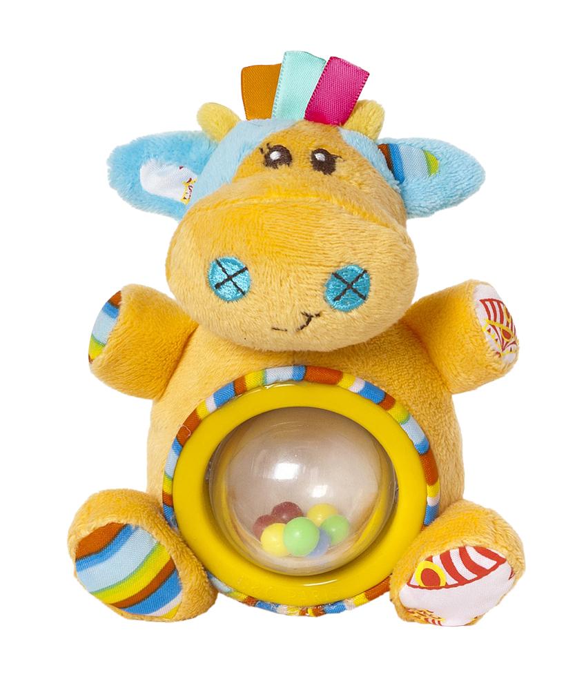 Мир Детства Мягкая игрушка-погремушка Артистка Виолетта цвет круга желтый33297Мягкая игрушка-погремушка Артистка Виолетта привлечет внимание вашего малыша и не позволит ему скучать! Игрушка выполнена из текстильного материала разных фактур в виде симпатичной оранжевой коровки. Ее глазки, носик и ротик вышиты нитками, а хвостик представляет собой текстильный шнурочек. Ушки Виолетты шуршат. На ее животике расположена вращающаяся прозрачная сфера, внутри которой находятся маленькие разноцветные шарики. Если игрушку потрясти, они будут весело перекатываться и греметь. Форма погремушки удобна для маленьких ручек ребенка. Он сможет ее держать, трясти и перекладывать из одной ручки в другую. Яркая игрушка-погремушка Артистка Виолетта поможет малышу в развитии цветового и звукового восприятия, концентрации внимания, мелкой моторики рук, координации движений и тактильных ощущений. Мир детства представляет новую серию игрушек для самых маленьких! Серия Волшебный цирк имеет интересный яркий дизайн, который понравится всем - и детям,...