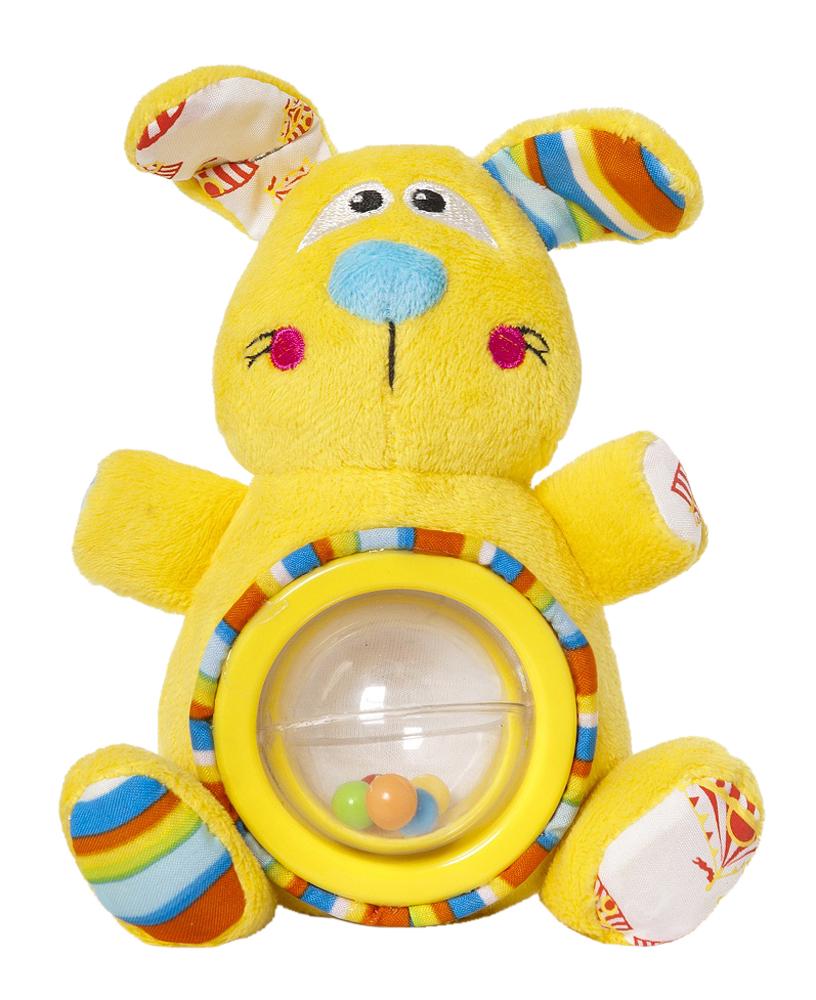 Мягкая игрушка-погремушка Дрессировщица Алиса33298Мягкая игрушка-погремушка Дрессировщица Алиса привлечет внимание вашего малыша и не позволит ему скучать! Игрушка выполнена из текстильного материала разных фактур в виде симпатичной желтой собачки. Ее глазки, носик и щечки вышиты нитками, а хвостик представляет собой текстильный шнурочек. Ушки Алисы шуршат. На ее животике расположена вращающаяся прозрачная сфера, внутри которой находятся маленькие разноцветные шарики. Если игрушку потрясти, они будут весело перекатываться и греметь. Форма погремушки удобна для маленьких ручек ребенка. Он сможет ее держать, трясти и перекладывать из одной ручки в другую. Яркая игрушка-погремушка Дрессировщица Алиса поможет малышу в развитии цветового и звукового восприятия, концентрации внимания, мелкой моторики рук, координации движений и тактильных ощущений. Мир детства представляет новую серию игрушек для самых маленьких! Серия Волшебный цирк имеет интересный яркий дизайн, который понравится всем - и детям, и...