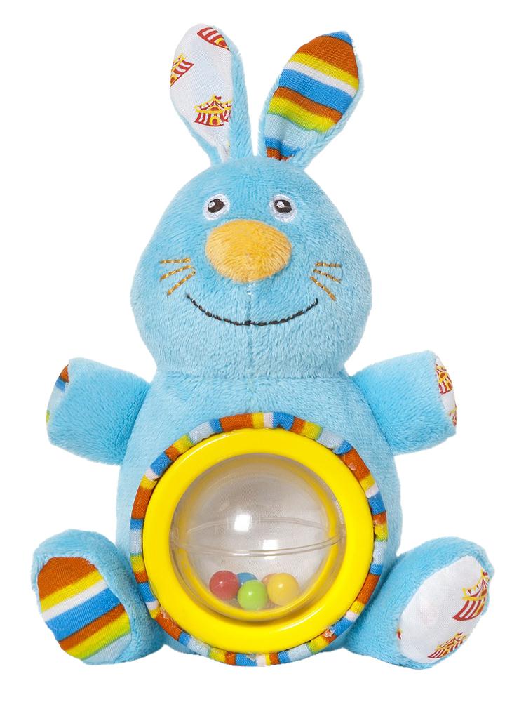 Мягкая игрушка-погремушка Фокусник Зайка, цвет круга: желтый33299Мягкая игрушка-погремушка Фокусник Зайка привлечет внимание вашего малыша и не позволит ему скучать! Игрушка выполнена из текстильного материала разных фактур в виде симпатичного голубого зайчика. Его глазки, усики и ротик вышиты нитками, а хвостик представляет собой текстильный шнурочек. Ушки Зайки шуршат. На его животике расположена вращающаяся прозрачная сфера, внутри которой находятся маленькие разноцветные шарики. Если игрушку потрясти, они будут весело перекатываться и греметь. Форма погремушки удобна для маленьких ручек ребенка. Он сможет ее держать, трясти и перекладывать из одной ручки в другую. Яркая игрушка-погремушка Фокусник Зайка поможет малышу в развитии цветового и звукового восприятия, концентрации внимания, мелкой моторики рук, координации движений и тактильных ощущений. Мир детства представляет новую серию игрушек для самых маленьких! Серия Волшебный цирк имеет интересный яркий дизайн, который понравится всем - и детям, и...