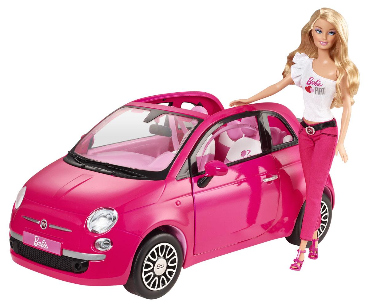Barbie Игровой набор с куклой Машина БарбиY6857Яркая машинка Barbie Фиат идеально подходит для такой модницы, как Барби! Выполненный в любимом маленькими модницами розовом цвете и с реалистичной точностью, автомобиль так и зовет скорее прокатиться. Фиат имеет сверкающие металлические диски и голографические фары. Открытый верх позволяет Барби колесить по городу под солнечными лучами, демонстрируя свой новый сказочный автомобиль. В наборе кукла Барби в прекрасном летнем наряде: белой кофточке и розовых штанах. Образ дополняют розовые солнечные очки. Ваша малышка с удовольствием будет катать куколку в машинке, придумывая различные истории. Порадуйте ее таким замечательным подарком!
