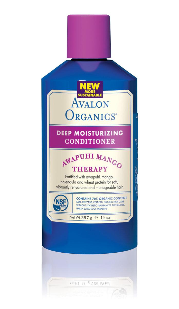 Avalon Organics Глубоко увлажняющий кондиционер для волос Манго и имбирь, 400 млAV36121Уникальный, сертифицированный комплекс органических масел и экстрактов, не утяжеляя, интенсивно насыщает структуру питательной влагой. Незаменимые жирные кислоты обеспечивают укрепление липидных связей между чешуйками поверхностного слоя, сглаживают, уплотняют клетки кутикулы волос, что способствует хорошему удержанию влаги, надежной защите от неблагоприятных внешних воздействий и быстрому восстановлению разрушенных участков.