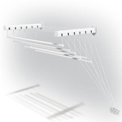 Сушилка для белья Gimi Lift 100, настенно-потолочная10460103Сушилка для белья Lift 100 - это удобная в использовании настенно-потолочная сушилка. Она имеет 6 металлических струн (длиной 100 сантиметров каждая), которые выдерживают до 15 кг белья. Сушилка имеет складной механизм, благодаря которому она не займет много места. Сушилка крепится к стене, ее можно прикрепить в любом удобном для вас месте: в ванне, на балконе, в комнате.