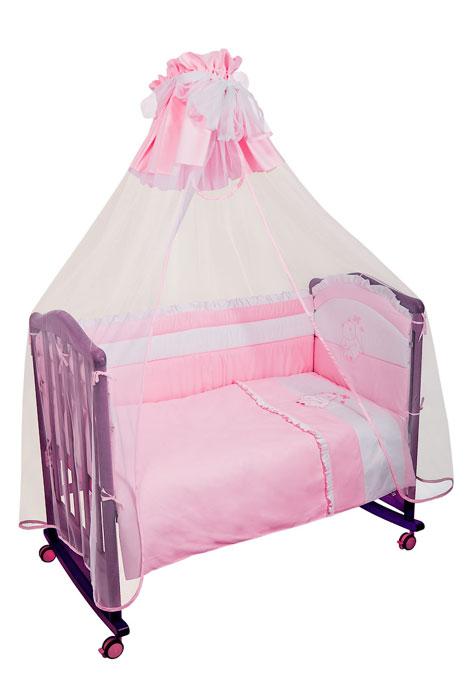Бампер в кроватку Пушистик, цвет: розовый110/2Бампер в кроватку Пушистик состоит из четырех частей и закрывает весь периметр кроватки. Бортик крепится к кроватке с помощью специальных завязок, благодаря чему его можно поместить в любую детскую кроватку. Бампер выполнен из сатина - натурального хлопка безупречной выделки. Деликатные швы рассчитаны на прикосновение к нежной коже ребенка. Бампер оформлен оборками и вышитой аппликацией в виде белого медвежонка. Наполнителем служит холлкон - эластичный синтетический материал, экологически безопасный и гипоаллергенный, обладающий высокими теплозащитными свойствами. Бампер защитит ребенка от возможных ударов о деревянные или металлические части кроватки. Бортик подходит для кроватки размером 120 см х 60 см. Характеристики: Материал верха: сатин, 100% хлопок. Наполнитель: холлкон. Общая длина бампера: 360 см. Высота бортика: 42 см. Размер упаковки: 60 см х 50 см х 17 см. Для производства изделий Сонный...