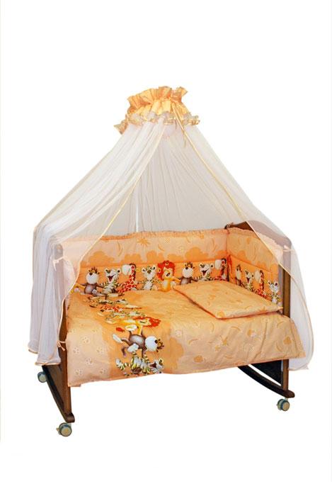 Бампер в кроватку Африка, цвет: персиково-бежевый131/7Бампер в кроватку Африка состоит из четырех частей и закрывает весь периметр кроватки. Бортик крепится к кроватке с помощью специальных завязок, благодаря чему его можно поместить в любую детскую кроватку. Бампер выполнен из бязи - натурального хлопка безупречной выделки. Деликатные швы рассчитаны на прикосновение к нежной коже ребенка. Бампер оформлен оборками и авторским рисунком с изображениями веселых танцующих зверей. Наполнителем служит холлкон - эластичный синтетический материал, экологически безопасный и гипоаллергенный, обладающий высокими теплозащитными свойствами. Бампер защитит ребенка от возможных ударов о деревянные или металлические части кроватки. Бортик подходит для кроватки размером 120 см х 60 см.