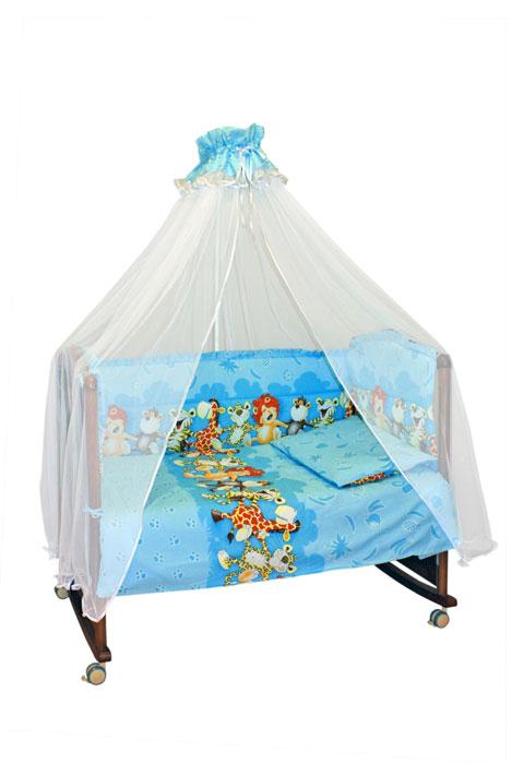 Бампер в кроватку Африка, цвет: голубой131/1Бампер в кроватку Африка состоит из четырех частей и закрывает весь периметр кроватки. Бортик крепится к кроватке с помощью специальных завязок, благодаря чему его можно поместить в любую детскую кроватку. Бампер выполнен из бязи - натурального хлопка безупречной выделки. Деликатные швы рассчитаны на прикосновение к нежной коже ребенка. Бампер оформлен оборками и авторским рисунком с изображениями веселых танцующих зверей. Наполнителем служит холлкон - эластичный синтетический материал, экологически безопасный и гипоаллергенный, обладающий высокими теплозащитными свойствами. Бампер защитит ребенка от возможных ударов о деревянные или металлические части кроватки. Бортик подходит для кроватки размером 120 см х 60 см.