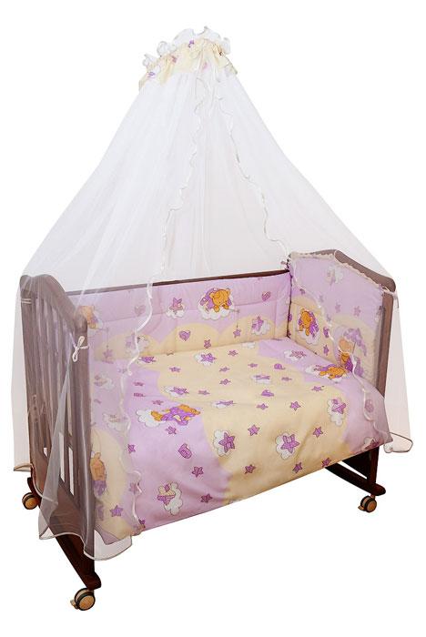 Комплект в кроватку Мишкин сон, цвет: розовый, 7 предметов703/2 розовыйКомплект в кроватку Мишкин сон прекрасно подойдет для кроватки вашего малыша, добавит комнате уюта и согреет в прохладные дни. В качестве материала верха использован натуральный хлопок, мягкая ткань не раздражает чувствительную и нежную кожу ребенка и хорошо вентилируется. Бампер, подушка и одеяло наполнены холлконом - экологически безопасным гипоаллергенным синтетическим материалом, обладающим высокими теплозащитными свойствами. Элементы комплекта оформлены изображениями симпатичных медвежат. Комплект состоит из: бампера с несъемными чехлами, балдахина с сеткой, подушки с клапаном, одеяла, пододеяльника, наволочки, простыни. Для производства изделий Сонный гномик используются только высококачественные ткани ведущих мировых производителей. Благодаря особым технологиям сбора и переработки хлопка сохраняется естественная природная структура волокна.