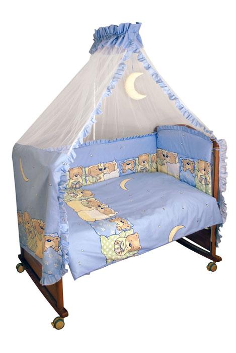 Комплект в кроватку Лежебоки, цвет: голубой, 7 предметов715/1Комплект в кроватку Лежебоки прекрасно подойдет для кроватки вашего малыша, добавит комнате уюта и согреет в прохладные дни. В качестве материала верха использован натуральный хлопок, мягкая ткань не раздражает чувствительную и нежную кожу ребенка и хорошо вентилируется. Наполнение одеяла и подушки из файберпласта - легкого синтетического абсолютно безопасного материала, благодаря которому они экологичны, гипоаллергенны, не деформируются и хорошо держат тепло. Бампер наполнен холлконом - экологически безопасным гипоаллергенным синтетическим материалом, обладающим высокими теплозащитными свойствами. Элементы комплекта оформлены изображениями симпатичных медвежат и собачек в постельках. Комплект состоит из: бампера, балдахина с сеткой, подушки с клапаном, одеяла, пододеяльника, наволочки, простыни. Для производства изделий Сонный гномик используются только высококачественные ткани ведущих мировых...