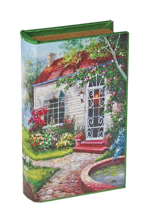 Шкатулка-книга Усадьба444066Оригинальное оформление шкатулки, несомненно, привлечет внимание. Шкатулка Усадьба изготовлена в виде книги, поверхность которой выполнена из шёлка и оформлена красочным изображением дома с цветущим садом. Такая шкатулка может использоваться для хранения бижутерии, в качестве украшения интерьера, а также послужит хорошим подарком для человека, ценящего практичные и оригинальные вещи. Характеристики: Материал: дерево, кожзам, шёлк. Размер шкатулки (в закрытом виде): 17 см х 11 см х 5 см. Размер упаковки: 18 см х 12 см х 6 см. Артикул: 444066.